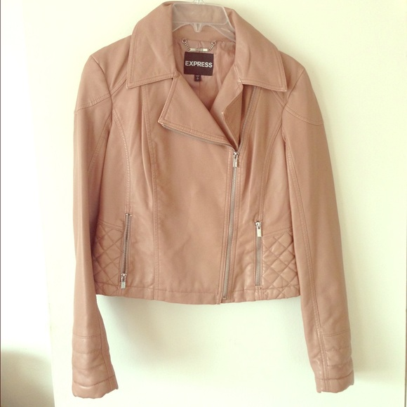 Express Jackets Coats Blush Nude Faux Leather Moto Jacket Poshmark