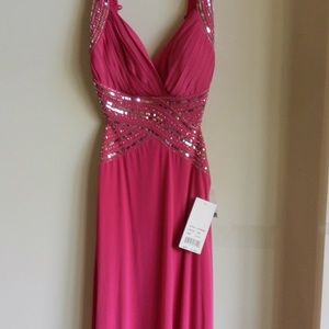 Fuchsia Sequined Dress. Open back. Prom.
