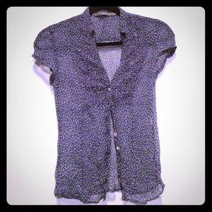 Zara speckled silk chiffon peasant top