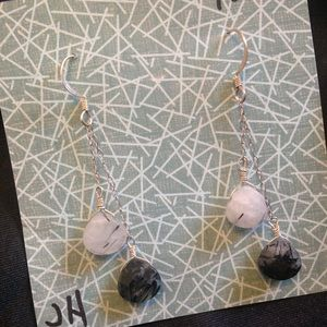 tourmalated quartz earring with sterling silver