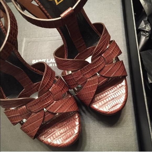 c675f8f97c9 Yves Saint Laurent Shoes | Ysl Lizard Embossed Tribute Sandals ...