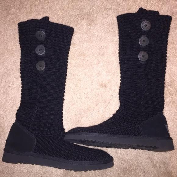 fe4d284c29c UGG black crochet Carley boot