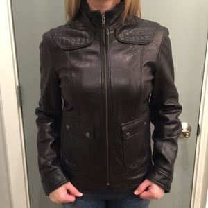 Calvin Klein Black Leather Moto Jacket