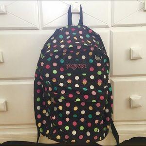 ❌SOLD❌Multicolored Polka Dot Jansport Backpack
