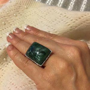 Unknown Jewelry - Large SQUARE GREEN Stone in Silver Ring
