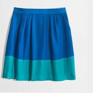 J. Crew pleated colorblock skirt