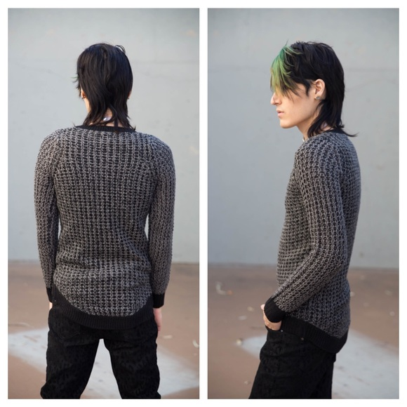 Poof! Sweaters - Waffle Knit V-Neck Sweater Grey Black Contrast S
