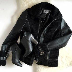 Boucle Leather Sleeve Moto Jacket