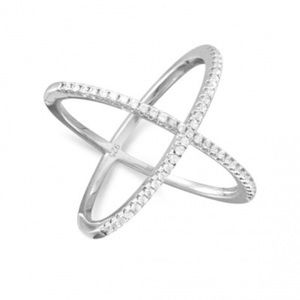Rhodium Plated Criss Cross 'X' Ring with CZs