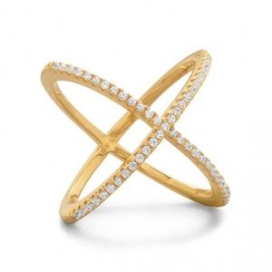 18 Karat Gold Plated Criss Cross 'X' Ring CZ's