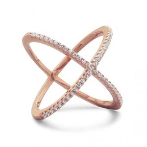 Karat Rose Gold Plated Criss Cross 'X' Ring CZs