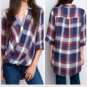 •plaid draped front top•