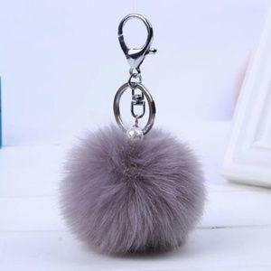 Gray Pom Pom keychain