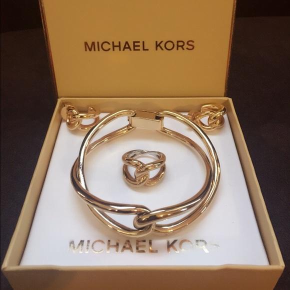 Authentic MK bracelet,earrings,ring sets gold