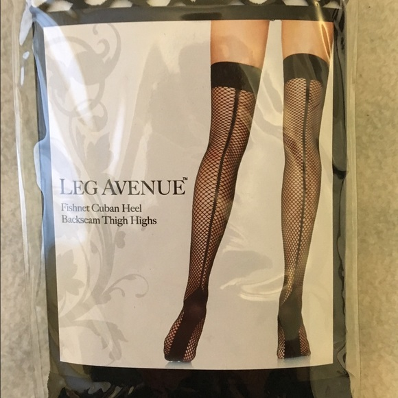 c59a905f63365 Leg Avenue Accessories | Nwt Fishnet Cuban Heel Backseam Thigh Highs ...
