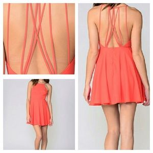 Boutique Coral Strappy Back Dress!
