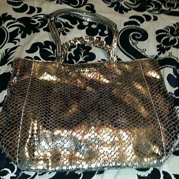 Michael Kors Handbags - Beautiful gold snake print Authentic purse