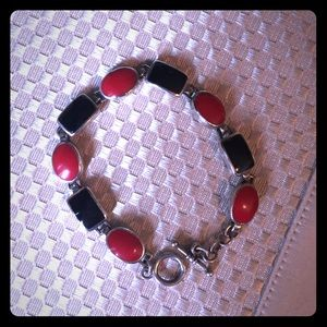 Jewelry - Vintage Black and Red Onyx Bracelet