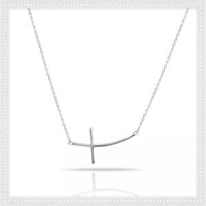 Jewelry - Silver Curved Bent Horizontal Cross Necklace