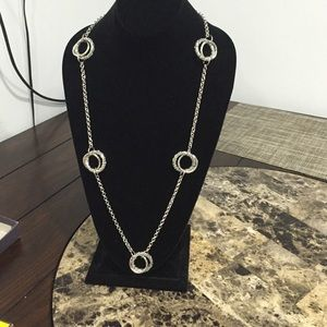 Modern silver tone long necklace