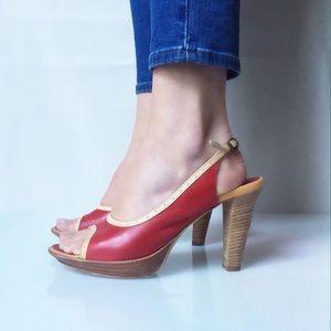 Alberto Fermani Shoes - Alberto Fermani Red Leather Open Toe High Heels