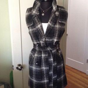 JOA grey black white flannel sleeveless trench
