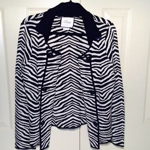 Chaus Sweaters - Chaus Zebra Double Breasted Knit Cardigan Jacket