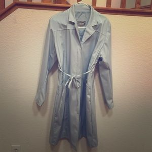 Rave Jackets & Blazers - Long light blue trench rain style jacket
