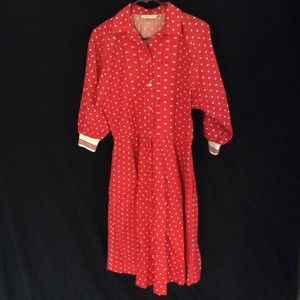 Vintage polka dot button down dress