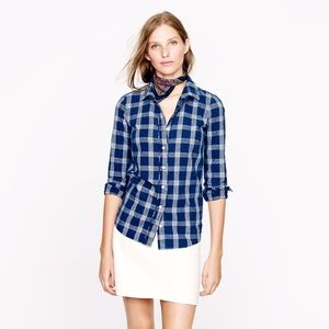 J. Crew Boy Shirt in Indigo Plaid
