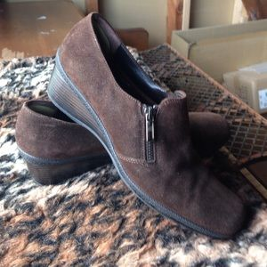 Aquatalia Brown Zip Loafers size 10 Italy