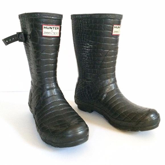 6bebb2c6c1e Hunter Shoes - Jimmy Choo for Hunter Croc Grey Rubber Wellie Boot
