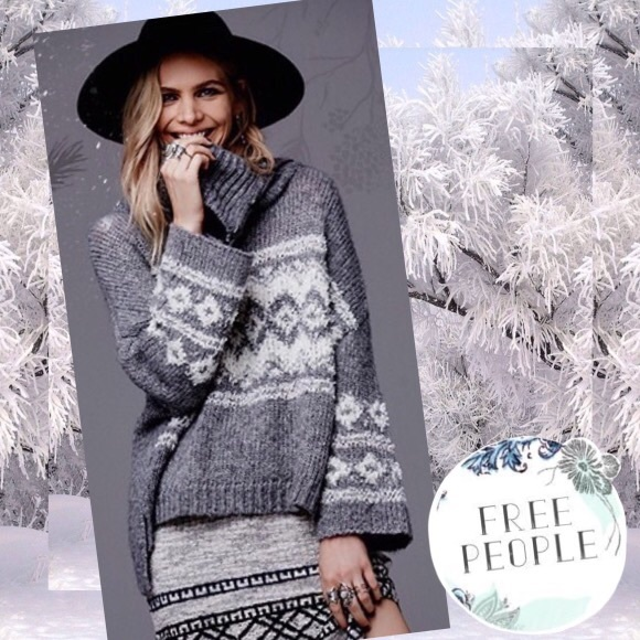 41% off Free People Sweaters - Free People Fair Isle Split Neck ...