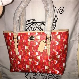 Orange & Beige Coach Tote