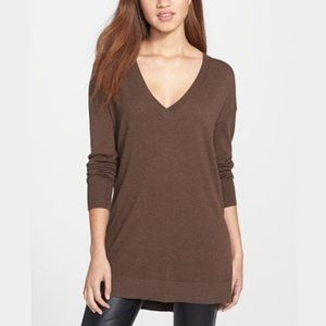 Halogen Sweaters - Halogen Brown V-Neck Back Zip Tunic
