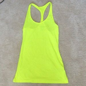 Nike Tops - Nike fluorescent yellow racerback tank size XS