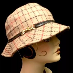 COACH Classic Wool Plaid Hat Fedora Leather NEW!!!
