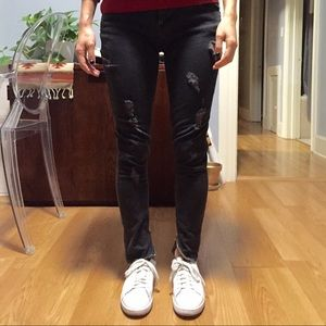 Hudson dark gray ripped zipper ankle jeans