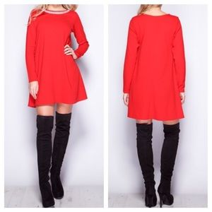 Long sleeve red dress (s-m)