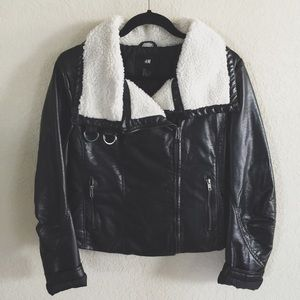 H&M Faux Leather Wool Bomber Jacket