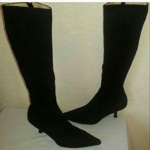 6a90a569040 CHANEL Shoes - Chanel knee high calfskin black kitten heels boots