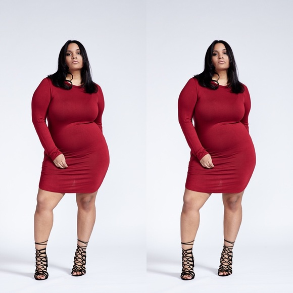 Plus Size Red Curve Hem Long Sleeve Bodycon Dress Boutique