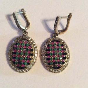 Jewelry - 925 Sterling Silver Ruby Emerald Topaz Earrings