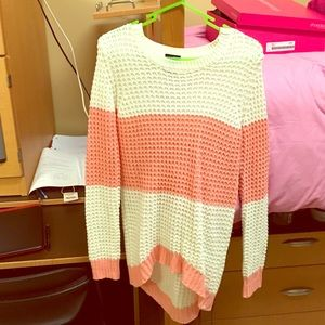 Pink and white striped sweater 