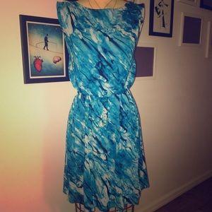 Alice+Olivia Size 0 bright blue silk dress
