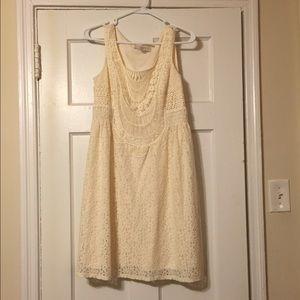 NWOT LOFT cream lace dress size 4