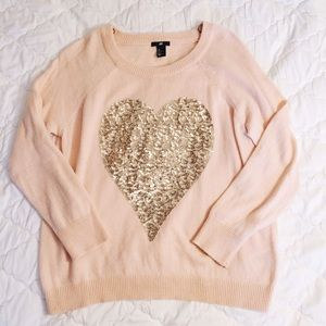 H&M Sweaters - Pink Sequin Heart Sweater