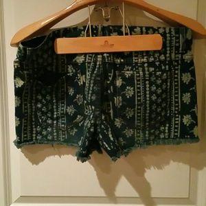 Free People Shorts - Free People printed jean shorts