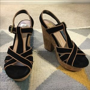Dolce Vita Black and Tan cork strappy heels 7