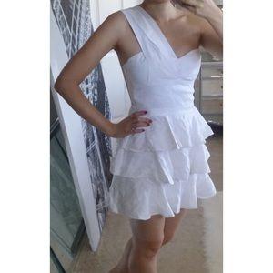 One Shoulder Tiered Ruffle Skirt Linen Dress 4 S